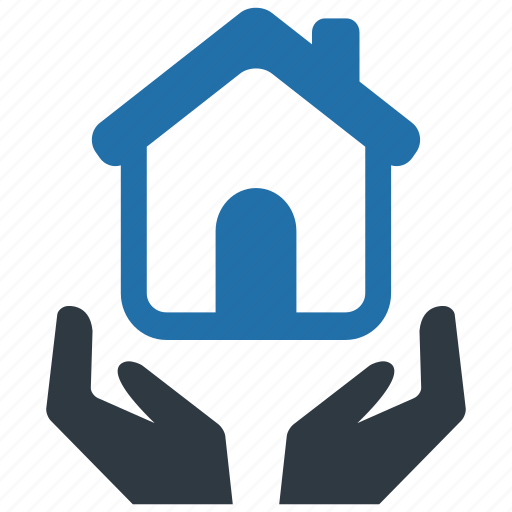 hand, home, house, household, households, insurance, mortage icon