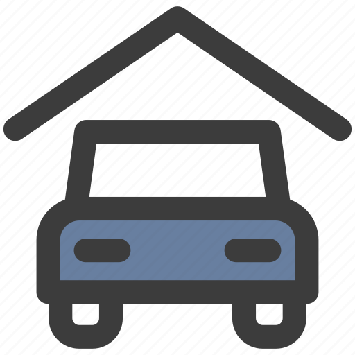car, garage, property icon