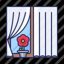 curtains, window, windowsill