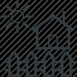 garden theme, house, house yard, rural house, sun icon