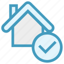 apartment, check, home, house, property, real estate, tick icon