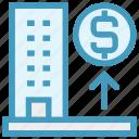 bank, building, dollar, dollar sign, enterprise, office, real estate