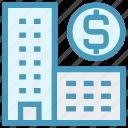 bank, buildings, dollar, dollar sign, enterprise, office, real estate