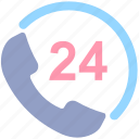 24 hours call service, call, call service, customer service, customer support, helpline, phone, phone 24, service icon