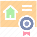 contract, document, home, house, house paper, page, property paper, real estate, ribbon icon