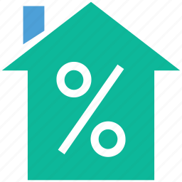 house, payment, percentage sign, real estate icon
