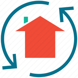 arrows, house, replacement, rotation icon