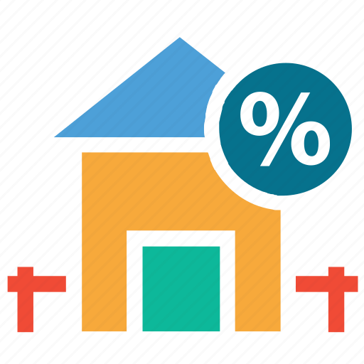 house, percentage, real, sign icon