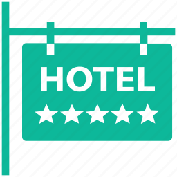 hotel, information, real estate, signboard icon