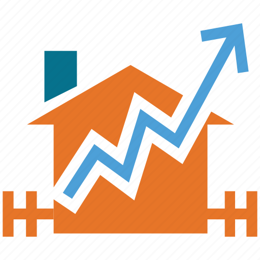 graph, house, real estate, value icon
