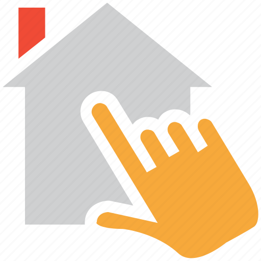 find, hand touch, home, search icon