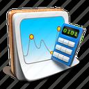 chart, calculator, notepad