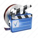 clip, film, movie, roll icon