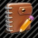 notebook, binder, pencil