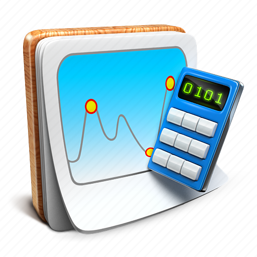 calculator, chart, notepad icon