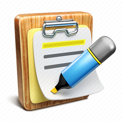 document, highlighter, list, note, notepad icon