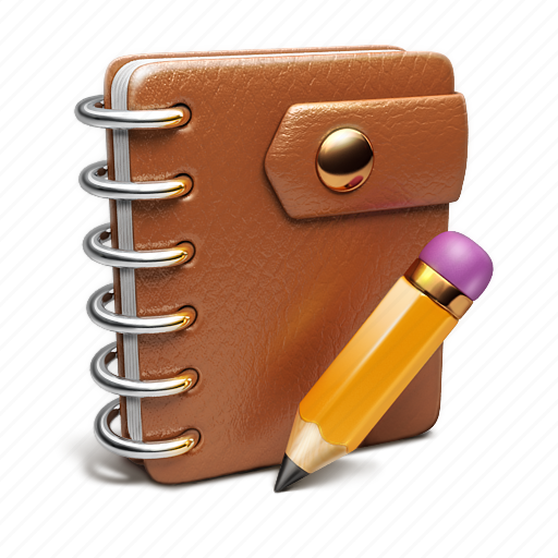 binder, notebook, pencil icon