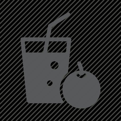 fruit, glass, juice, orang icon