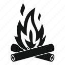 bonfire, campfire, fire, firewood, flame, hot, spark icon