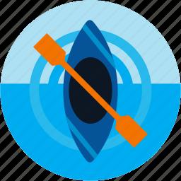 activities, boat, kayak, kayaking, kiaking, paddle, recreational icon