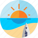 activities, beach, recreational, sea, sun, surfing icon