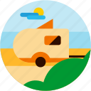 activities, bush, camper, camping, cloud, recreational, sun icon