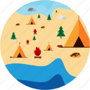 activities, camping, campsite, fire, recreational, tent, trees icon