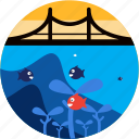 activities, bridge, diving, fish, recreational, seaweed icon