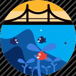 activities, bridge, diving, fish, recreational, seaweed icon