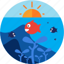 activities, fish, recreational, sea, sun, under icon