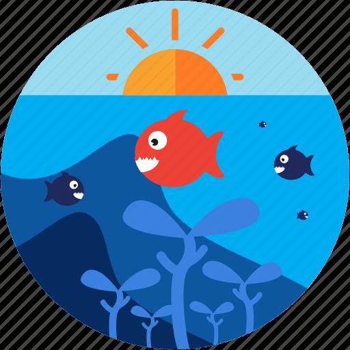 activities, fish, recreational, sea, sun, under icon