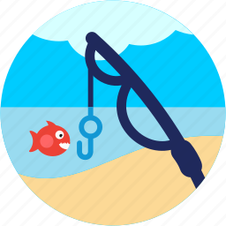 activities, cloud, fish, fishing, lake, pole, recreational icon