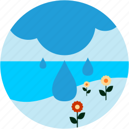activities, cloud, flowers, lake, rain, recreational icon