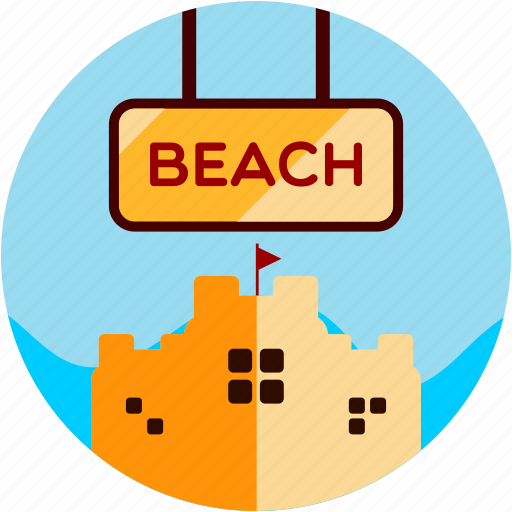 activities, beach, recreational, sand, sandcastle, sign icon