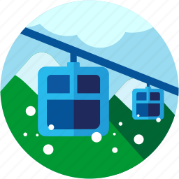 activities, cloud, mountains, recreational, skiing, skilift, snow icon