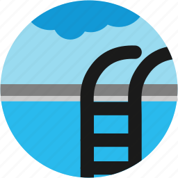 activities, cloud, ladder, pool, recreational, swimming icon