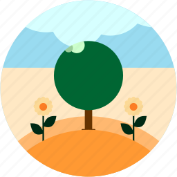 activities, cloud, countryside, flowers, recreational, tree icon