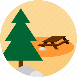 activities, forest, picnic, recreational, table, tree icon