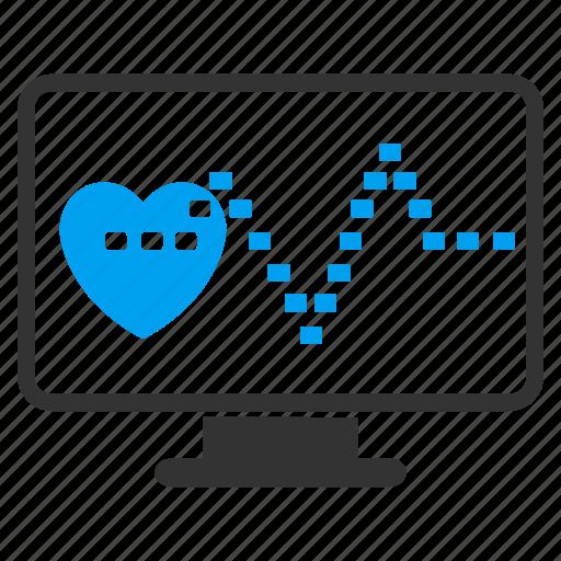 cardio monitoring, cardiogram, cardiology, ecg, heart pulse, heartbeat, medical graph icon