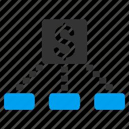 bank, cash flow, cashout, diagram, financial chart, network, scheme icon