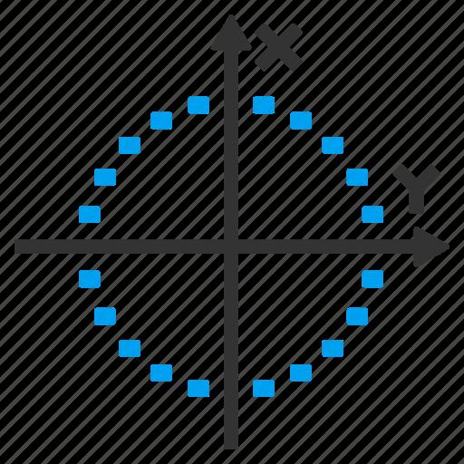 dotted chart, draw, ellipse, elliptic, graph, plot, sphere icon