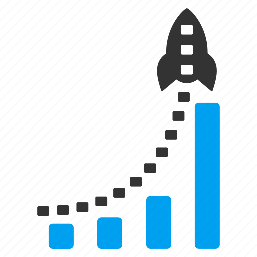 bar chart, business, graph, report, rocket, statistics, success icon
