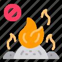 fire, incineration, prohibition, smoke, trash icon