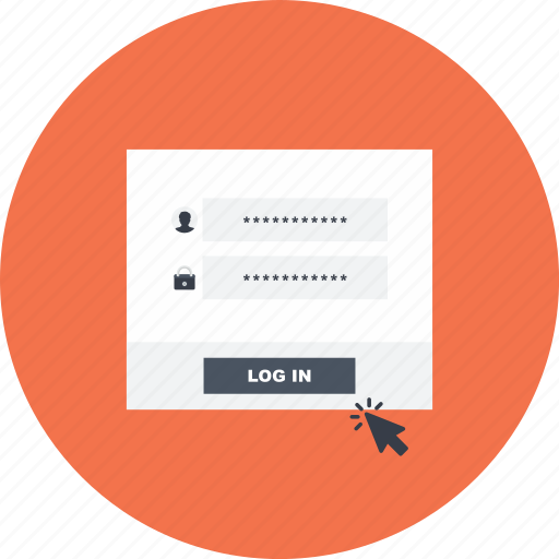 click, form, log, log in, network, user, web icon