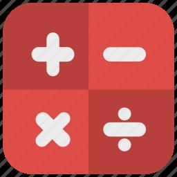 app icon, calculation, calculator, red, round icon icon
