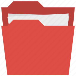 archive, documents, files, holder, organizer, red folder icon