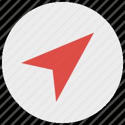 arrow, direction, location, map, navigation icon
