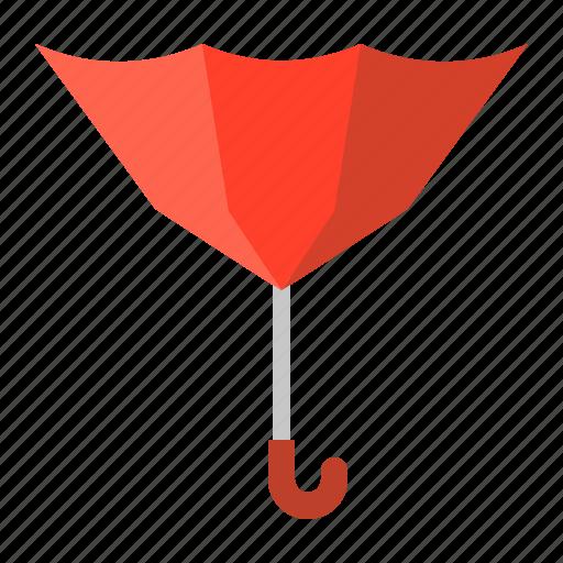 broken, parasol, protection, red, reverse, summer, sunshade, umbrella icon