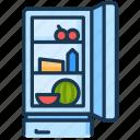 cooking, food, fridge, fruit, kitchen, open, refrigerator