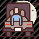 asylum, crisis, migrant, transport icon
